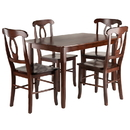 Winsome 94547 Inglewood 5-PC Set Dining Table w/ 4 Key Hole Back Chairs