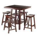 Winsome 94548 Orlando 5-Pc Set High Table, 2 Shelves w/ 4 Saddle Seat Stools