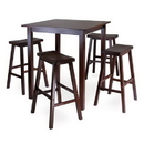 Winsome 94549 Parkland 5pc Square High/Pub Table Set with 4 Saddle Seat Stools