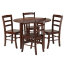 Winsome 94551 Alamo 5-Pc Round Drop Leaf Table with 4 Ladder Back