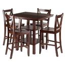 Winsome 94554 Orlando 5-Pc Set High Table, 2 Shelves w/ 4 V-Back Counter Stools