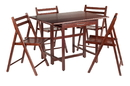 Winsome 94557 Taylor 5-Pc Set Drop Leaf Table w/ 4 Folding Chairs