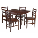 Winsome 94561 Hamilton 5-pc set Drop Leaf Table w/4 Ladder Back Chairs, Antique Walnut Finish