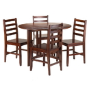 Winsome 94565 Alamo 5-Pc Round Drop Leaf Table with 4 Hamilton Ladder Back