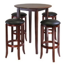 Winsome 94581 Fiona Round 5pc High/Pub Table Set with PVC Stools