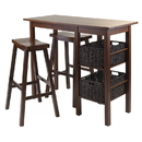 Winsome 94589 Egan 5pc Breakfast Table with 2 Baskets and 2 Saddle Seat Stools