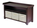 Winsome 94801 Wood Verona Storage Bench with 3 Foldable Beige Color Fabric Baskets