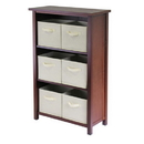 Winsome 94881 Verona 3- Section M Storage Shelf with 6 Foldable Beige Color Fabric Baskets