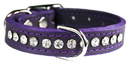 Omnipet by Leather Brothers 6087-PR10 Purple Signature Leather Crystal Collar
