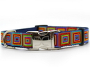 Diva Dog DD-SQUCOLG Squares Dog Collar with Gold Metal Buckles