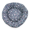 Mutts and Mittens ROCNC Navy Cats in Garden Cotton Fabric Round Pet Bed