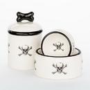 Creature Comforts SKLCRSBNS Skull & Crossbones Bowls and Treat Jars Collection