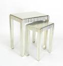 Wayborn 3531SV Sienna Nest Table, 22'' x 19'' x 14'', Silver Leaf