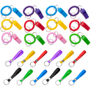GOGO 12 PCS Spiral Keychain Whistles & 12 PCS Silicone Rubber Bracelet Key Rings Party Favors