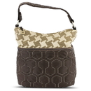Travelon F09710 848000 Quilted Nylon Zip-Top Train Case - Brown/Houndstooth Pattern