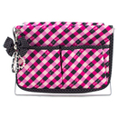Jacki Design Large Retro Plaid Magazine Holder, Hot Pink