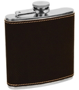 Generic FSK617A Erie 216 6oz. Stainless Steel Flask, Engravable Black/Gold Leatherette (FSK617A)