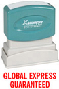 Xstamper 1728 Title Stamp - Global Express Guaranteed, Red, 1/2