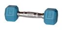 York Barbell 15404 4 lb Rubber Hex - Aqua Blue