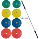York Barbell 28096 160kg USA Solid Colored Rubber Training Bumper Set (2 x 25, 20, 15, 10 kg.)