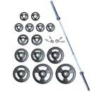 York Barbell 29026 ISO-GRIP 300 lb Int'l Rubber Set (2 x 45, 35, 25, 10, 2.5, & 4 x 5 lb) 32113, pr. Spring Collars - Black