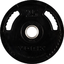 York Barbell 29081 25 lb. G2 Dual Grip Thin Line Rubber Encased Olympic Plate