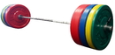 York Barbell #29092 275 lb USA Colored Solid Rubber Training Bumper Set (2 x 45, 35, 25, 10 lb.), #32112, pr. Spring Collars