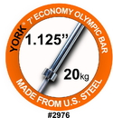 York 2976 7' Olympic Bar for Olympic Steel Sleeves