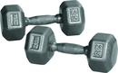 York Barbell 34005 10 lb. Pro Hex Dumbbell w/ Cast Ergo Handle - Grey