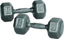 York Barbell 34017 65 lb. Pro Hex Dumbbell w/ Cast Ergo Handle - Grey