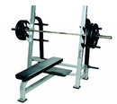 York Barbell 55041 ST Olympic Flat Bench w/Gun Racks - Silver