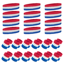 GOGO 12 Sets Sports Sweatband Sets (12 Headbands and 24 Wristbands)