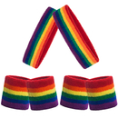 GOGO 36 Pieces Rainbow Sports Sweatbands Set (12 Headbands and 24 Wristbands)