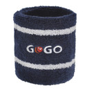 GOGO™ Thick Two Color Stripe Embroidery Wristband - GOGO Logo (Price for SINGLE PIECE)