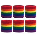 GOGO 6 Pieces Striped Wrist Sweatbands Rainbow Athletic Cotton Wristbands
