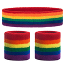 GOGO Rainbow Sweatband Set (1 Headband + 2 Wristbands), Cotton Sports Sweatbands