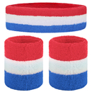 GOGO Patriot Style Stripe Sweatband Set (Price for 6 Sets), Red / White / Blue