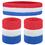 GOGO Patriot Style Stripe Sweatband Set (Price for 6 Sets), Red / White / Blue