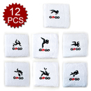 GOGO Embroidered Wrist Sweatband Sports Logo Assorted Patterns 12PCS