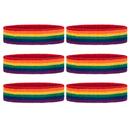 GOGO 6PCS Striped Headbands Rainbow Color Athletic Cotton Terry Cloth Sweatbands