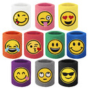 GOGO 10 Pieces Cotton Wristband Emoji Emoticons Sweatbands Party Favors