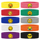 GOGO 10 Pieces Cotton Headband Emoji Faces Sweatbands