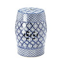 Accent Plus 57073426 Blue And White Ceramic Decorative Stool