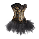 MUKA Burlesque Leopard Print Corset And Petticoat, Panty Included, Gift Idea