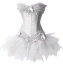 MUKA White Burlesque Corset And Petticoat, Halloween Costume, Gift Idea