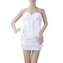 MUKA Women's Lace-up Boned Corset And Skirt Set, White, Gift Idea