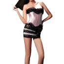 MUKA Women's Lace-up Boned Corset And Skirt Set, Pink, Gift Idea